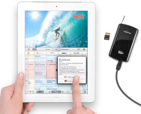 equinux tizi dvb t auf dem ipad ipod touch und iphone mit aufnahmem glichkeit auf sd karte. Black Bedroom Furniture Sets. Home Design Ideas