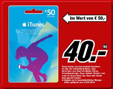 Media Markt: 50 Euro iTunes Karte kaufen, 40 Euro bezahlen