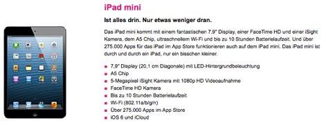 telekom ipad mini mit vertrag jetzt bestellen macerkopf. Black Bedroom Furniture Sets. Home Design Ideas