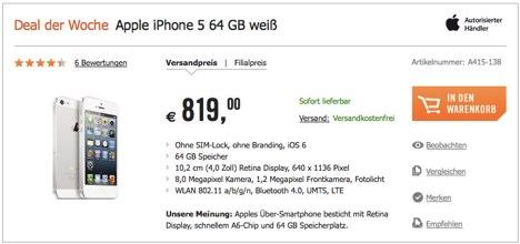 iphone 5 64gb ohne vertrag nur 819 euro cyberport deal. Black Bedroom Furniture Sets. Home Design Ideas