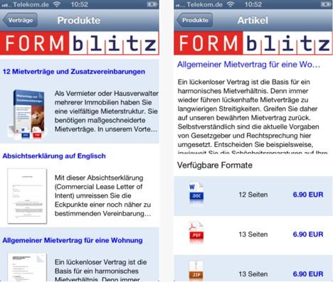 Formblitz App Umfassende Sammlung An Formularen Und Musterverträgen