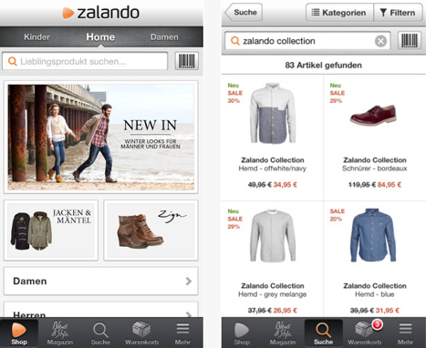 zalando app einfaches online shopping mit dem iphone. Black Bedroom Furniture Sets. Home Design Ideas