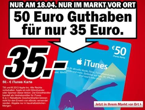 itunes karte rabatt Nur heute: 30 Prozent Rabatt auf 50 Euro iTunes Karten bei Media