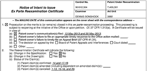 USPTO NIRC confirming seven claims of rubber-banding patent