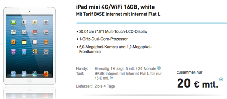 ipad mini mit vertrag nur 1 euro bei base macerkopf. Black Bedroom Furniture Sets. Home Design Ideas