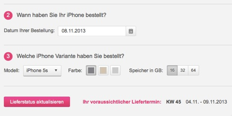 iphone 5s mit allnet flat lieferzeit bei der telekom. Black Bedroom Furniture Sets. Home Design Ideas