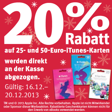 itunes karten 20 prozent rabatt bei edeka und rossmann macerkopf. Black Bedroom Furniture Sets. Home Design Ideas