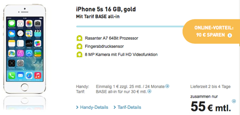 iphone 5s mit vertrag nur 1 euro bei base 90 euro. Black Bedroom Furniture Sets. Home Design Ideas