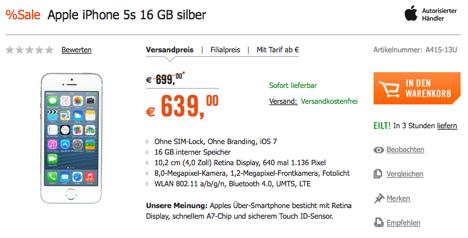 iphone 5s ohne vertrag nur 639 euro macerkopf. Black Bedroom Furniture Sets. Home Design Ideas