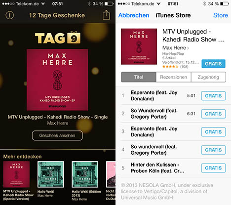 itunes 12 tage geschenke tag 9 max herre mtv unplugged macerkopf. Black Bedroom Furniture Sets. Home Design Ideas
