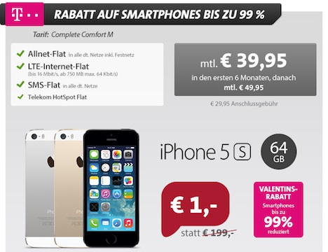 iphone 5s 64gb mit vertrag nur 1 euro telekom allnet flat. Black Bedroom Furniture Sets. Home Design Ideas