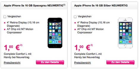 gebrauchte iphone 5s mit vertrag bei der telekom f r 1. Black Bedroom Furniture Sets. Home Design Ideas