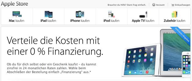 apple online store 0 prozent finanzierung f r ipad air. Black Bedroom Furniture Sets. Home Design Ideas