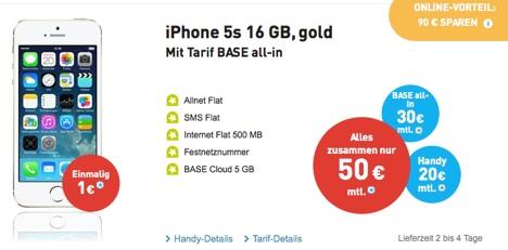 preissenkung iphone 5s mit vertrag nur 1 euro bei base. Black Bedroom Furniture Sets. Home Design Ideas