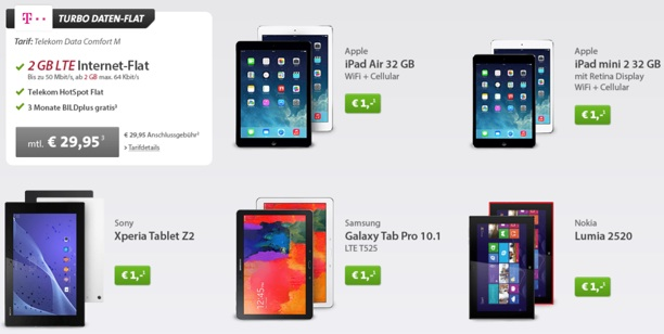 retina ipad mini 32gb mit vertrag nur 1 euro 2gb telekom. Black Bedroom Furniture Sets. Home Design Ideas