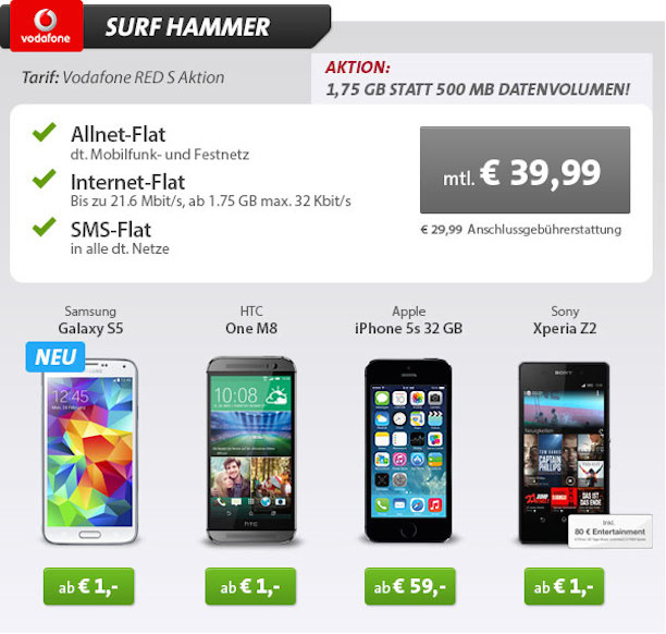 iphone 5s 32gb mit vertrag f r 59 euro vodafone allnet. Black Bedroom Furniture Sets. Home Design Ideas