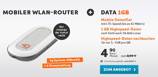 simyo 1gb datenflat nur 4 90 euro mobiler wlan router. Black Bedroom Furniture Sets. Home Design Ideas
