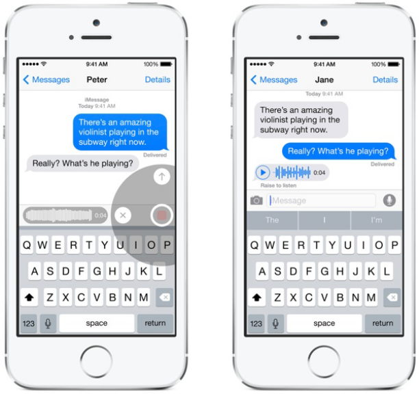 voice message ios 8