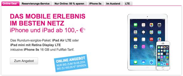 telekom deal iphone 5s ipad lte im bundle bis zu 450. Black Bedroom Furniture Sets. Home Design Ideas