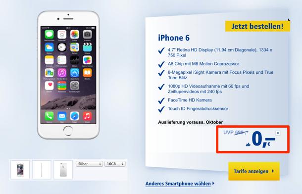 iPhone 6 bei 1&1 für 0 Euro › Macerkopf