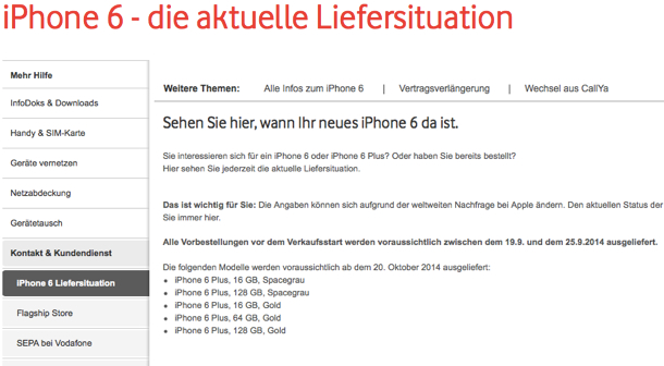 iPhone 6 Lieferstatus bei Vodafone