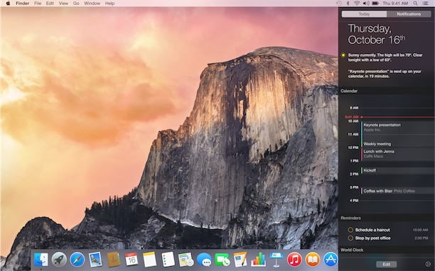 OS X Yosemite notifications