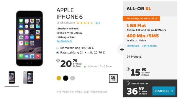 iphone 6 nur 499 euro bei simyo im all on xl tarif. Black Bedroom Furniture Sets. Home Design Ideas