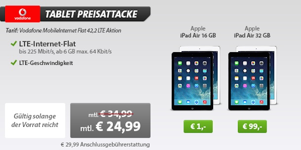 ipad air mit vertrag nur 1 euro 6gb datenflat nur 24 99. Black Bedroom Furniture Sets. Home Design Ideas