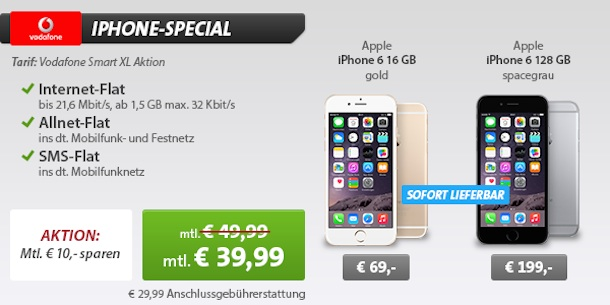 iphone 6 mit vertrag vodafone allnet flat nur 39 99 euro. Black Bedroom Furniture Sets. Home Design Ideas