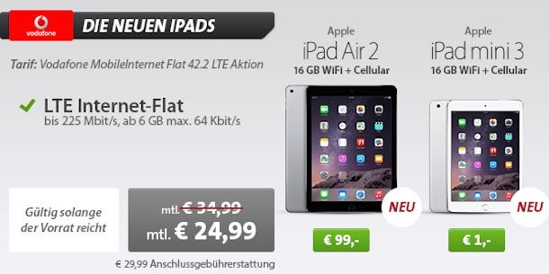 apple deals ipad air 2 mit vertrag nur 99 euro ipad mini. Black Bedroom Furniture Sets. Home Design Ideas