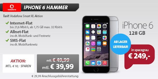 iphone 6 128gb mit vertrag nur 249 euro allnet flat nur. Black Bedroom Furniture Sets. Home Design Ideas