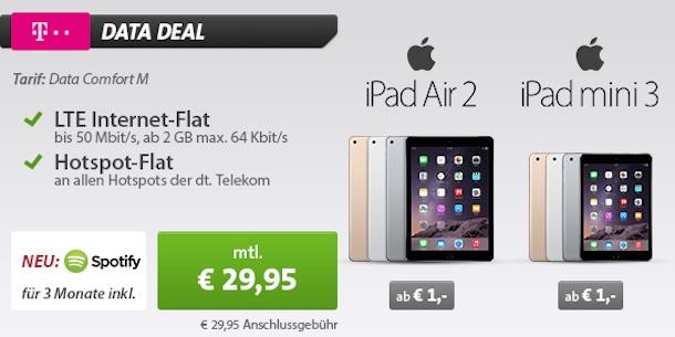 ipad air 2 mit vertrag nur 1 euro 2gb telekom datenflat. Black Bedroom Furniture Sets. Home Design Ideas