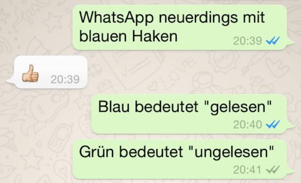 """WhatsApp Update: blaue Haken bedeuten """"Nachricht gelesen"""