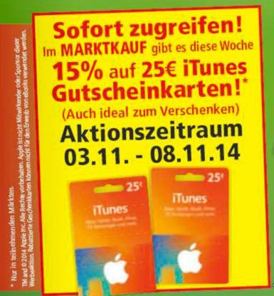 iTunes Karten: 15 Prozent Rabatt bei Media Markt und