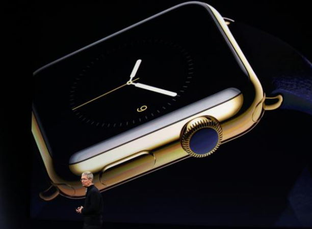 Apple CEO Tim Cook introduces the Apple Watch during an Apple event in San Francisco