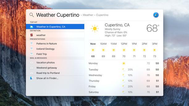 OS X 10.11 Spotlight