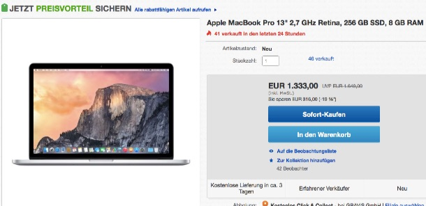 316 euro rabatt auf 13 zoll retina macbook pro mit 2 7ghz. Black Bedroom Furniture Sets. Home Design Ideas