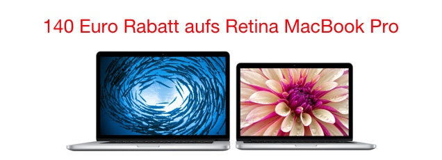 140 euro rabatt auf macbook pro mit retina display. Black Bedroom Furniture Sets. Home Design Ideas