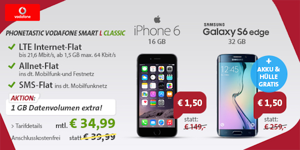 iPhone 6 mit Vertrag nur 1,50 Euro, Vodafone Allnet-Flat ...