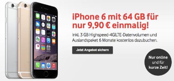 iphone 6 64gb mit vertrag nur 9 90 euro im vodafone red. Black Bedroom Furniture Sets. Home Design Ideas