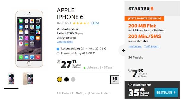 iphone 6 im simyo starter s tarif 3 monate kostenlos. Black Bedroom Furniture Sets. Home Design Ideas