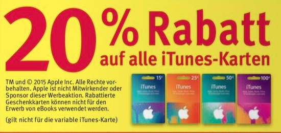 itunes karten 20 prozent sparen bei rossmann macerkopf. Black Bedroom Furniture Sets. Home Design Ideas
