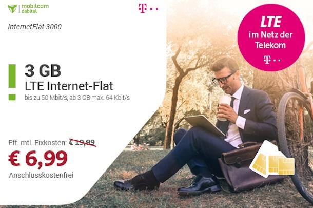 Nur 6,99 Euro pro Monat: 3GB Telekom LTE