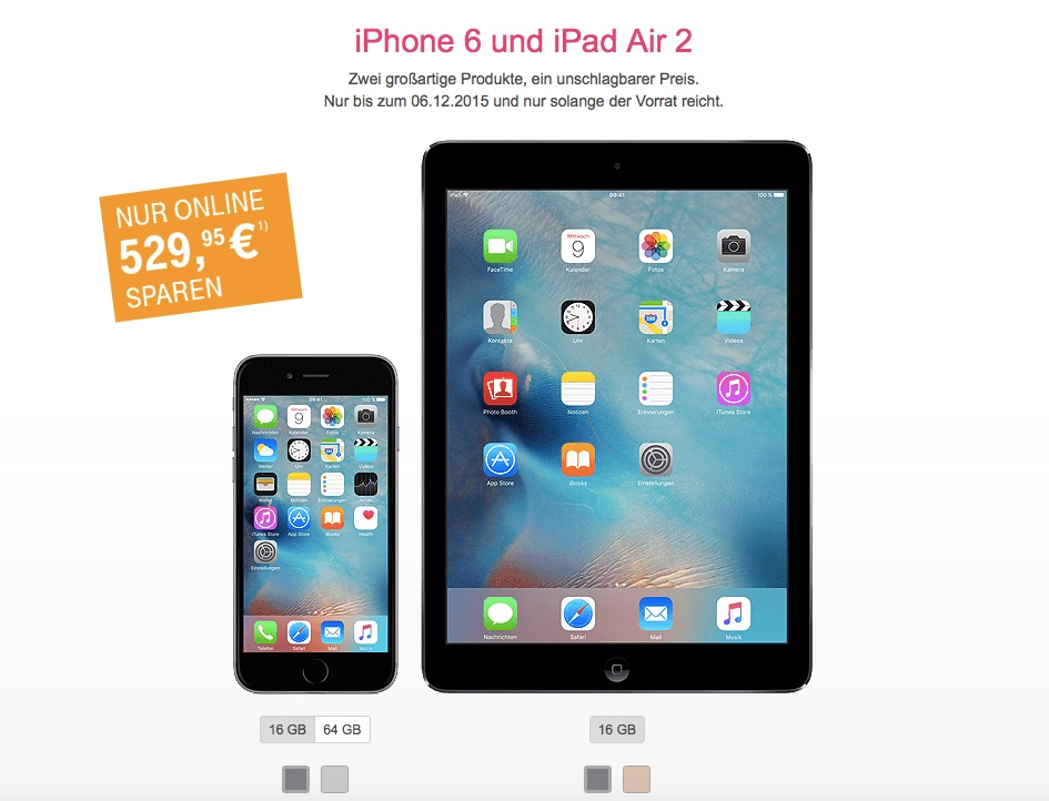 iphone 6 ipad air 2 im bundle 530 euro rabatt bei der. Black Bedroom Furniture Sets. Home Design Ideas