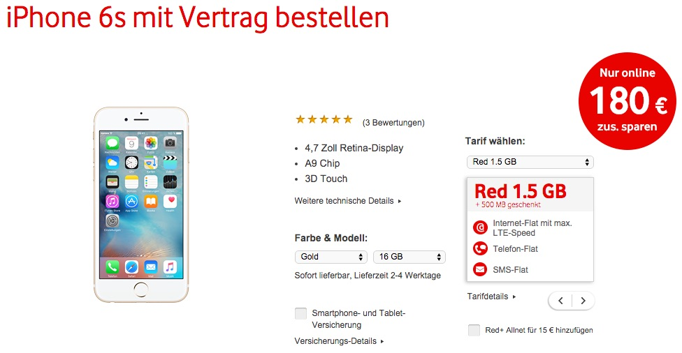 vodafone iphone 6s