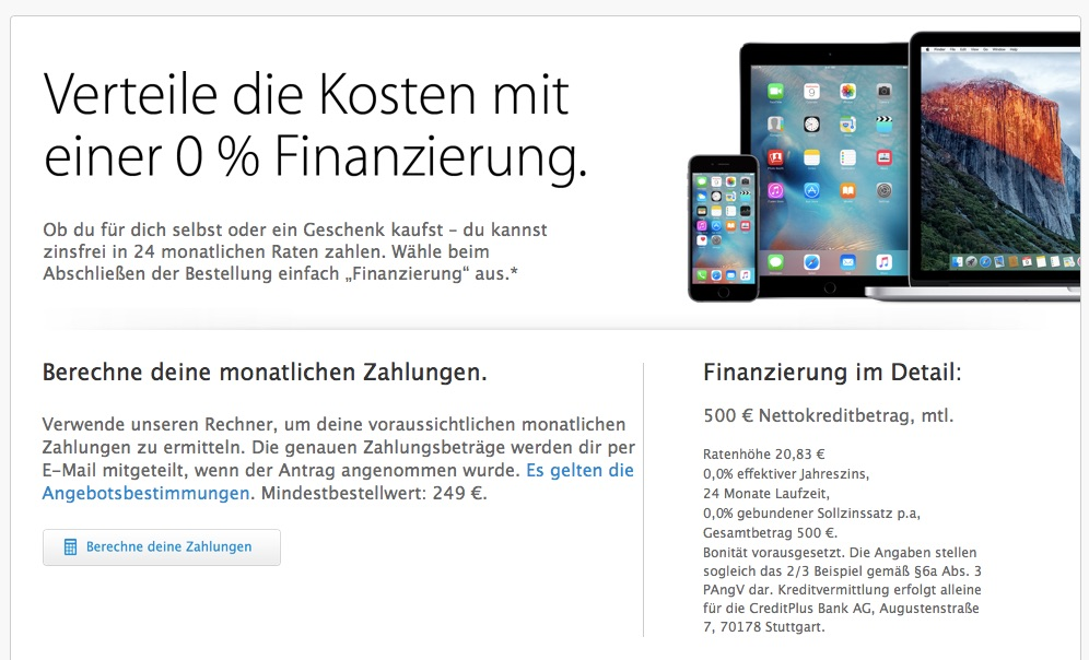 apple online store 0 prozent finanzierung auf iphone 6s ipad pro apple watch macbook und co. Black Bedroom Furniture Sets. Home Design Ideas