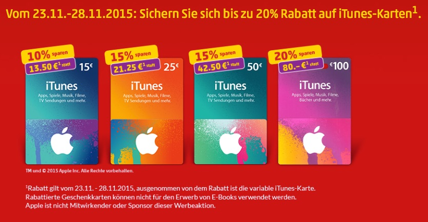 itunes karten rabatt bei edeka netto und penny macerkopf. Black Bedroom Furniture Sets. Home Design Ideas