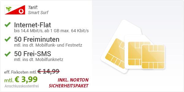 Nur 399 Euro 1gb Datenflat 50 Minuten 50 Sms Im Vodafone Netz