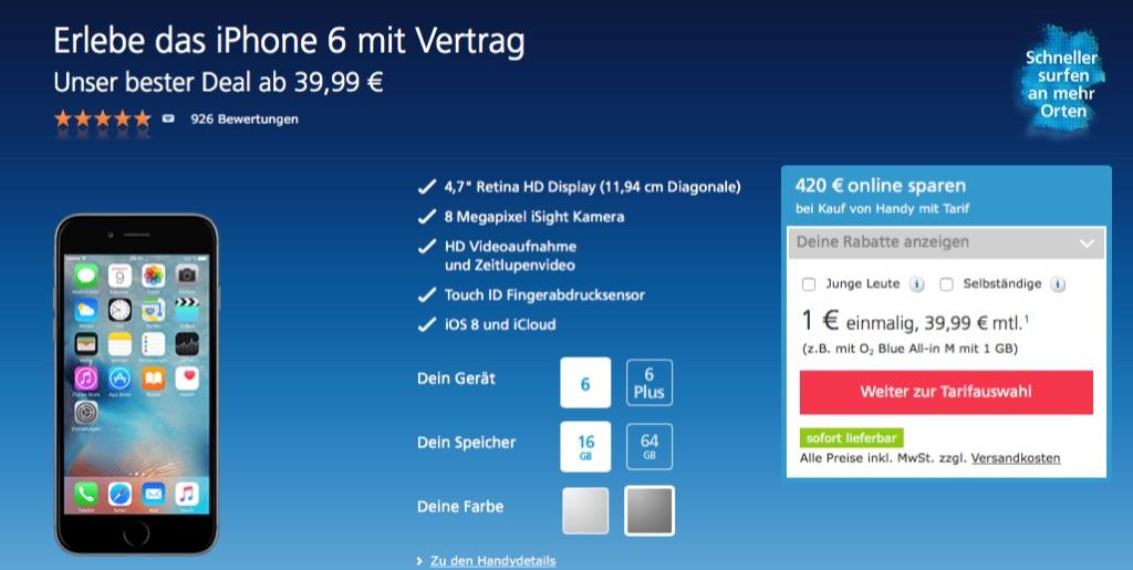 O2 Deal Iphone 6 Mit Vertrag Nur 1 Euro 420 Euro Rabatt Macerkopf