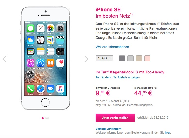 iphone se mit vertrag g nstig kaufen rabatte bei telekom. Black Bedroom Furniture Sets. Home Design Ideas